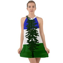 Flag Of Cascadia Halter Tie Back Chiffon Dress