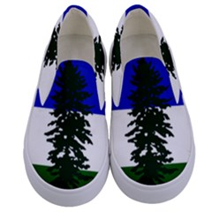 Flag Of Cascadia Kids  Canvas Slip Ons