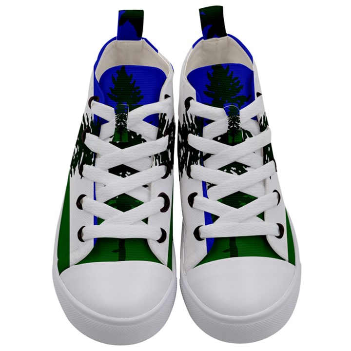 Flag of Cascadia Kid s Mid-Top Canvas Sneakers