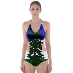 Flag Of Cascadia Cut Out One Piece Swimsuit