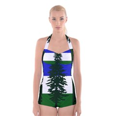 Flag Of Cascadia Boyleg Halter Swimsuit