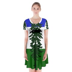 Flag Of Cascadia Short Sleeve V Neck Flare Dress