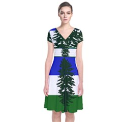 Flag Of Cascadia Short Sleeve Front Wrap Dress