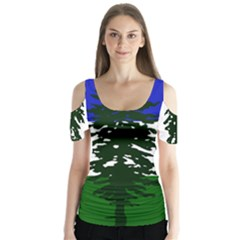 Flag Of Cascadia Butterfly Sleeve Cutout Tee