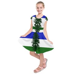 Flag Of Cascadia Kids  Short Sleeve Dress