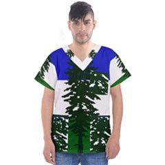 Flag Of Cascadia Men s V Neck Scrub Top