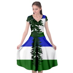 Flag Of Cascadia Cap Sleeve Wrap Front Dress