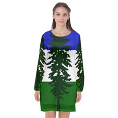 Flag Of Cascadia Long Sleeve Chiffon Shift Dress