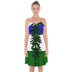 Flag Of Cascadia Ruffle Detail Chiffon Dress