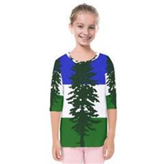 Flag 0f Cascadia Kids  Quarter Sleeve Raglan Tee