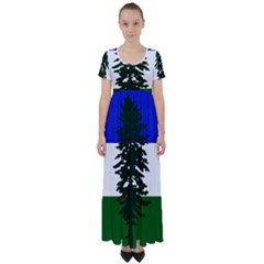 Flag 0f Cascadia High Waist Short Sleeve Maxi Dress