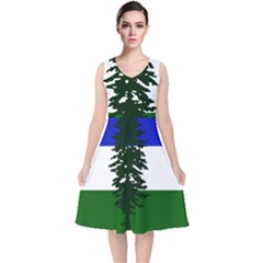 Flag 0f Cascadia V Neck Midi Sleeveless Dress