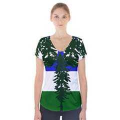Flag 0f Cascadia Short Sleeve Front Detail Top