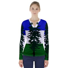 Flag 0f Cascadia V Neck Long Sleeve Top