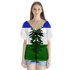 Flag 0f Cascadia V Neck Flutter Sleeve Top