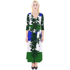 Flag 0f Cascadia Quarter Sleeve Wrap Maxi Dress