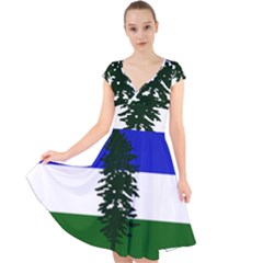 Flag 0f Cascadia Cap Sleeve Front Wrap Midi Dress