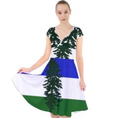 Flag 0f Cascadia Cap Sleeve Front Wrap Midi Dress