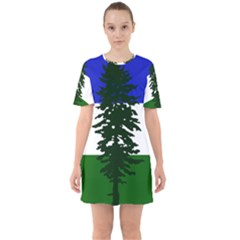 Flag 0f Cascadia Sixties Short Sleeve Mini Dress