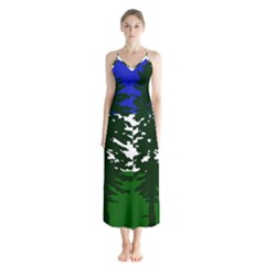Flag 0f Cascadia Button Up Chiffon Maxi Dress