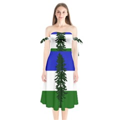 Flag 0f Cascadia Shoulder Tie Bardot Midi Dress
