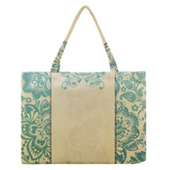 Art Nouveau Green Zipper Medium Tote Bag