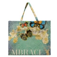 Embrace Shabby Chic Collage Zipper Large Tote Bag