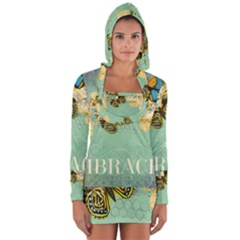 Embrace Shabby Chic Collage Long Sleeve Hooded T Shirt
