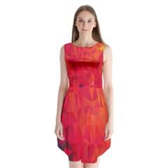 Triangle Geometric Mosaic Pattern Sleeveless Chiffon Dress