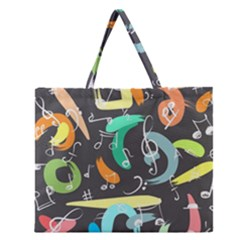 Repetition Seamless Child Sketch Zipper Large Tote Bag