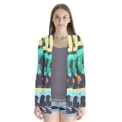 Repetition Seamless Child Sketch Drape Collar Cardigan