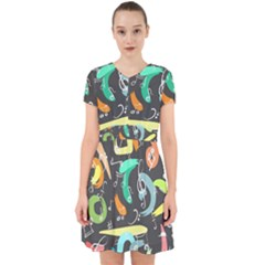 Repetition Seamless Child Sketch Adorable In Chiffon Dress