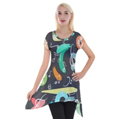Repetition Seamless Child Sketch Short Sleeve Side Drop Tunic