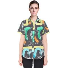 Repetition Seamless Child Sketch Women s Short Sleeve Shirt
