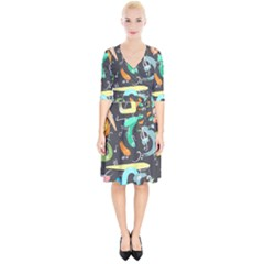 Repetition Seamless Child Sketch Wrap Up Cocktail Dress