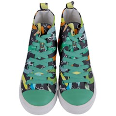 Repetition Seamless Child Sketch Women s Mid Top Canvas Sneakers