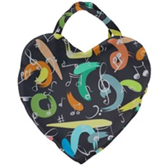 Repetition Seamless Child Sketch Giant Heart Shaped Tote