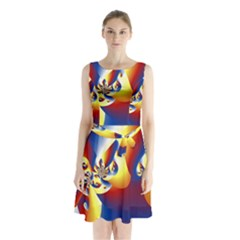 Mandelbrot Math Fractal Pattern Sleeveless Waist Tie Chiffon Dress