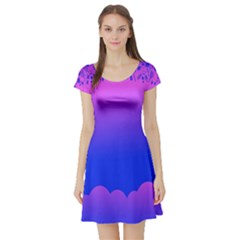 Abstract Bright Color Short Sleeve Skater Dress