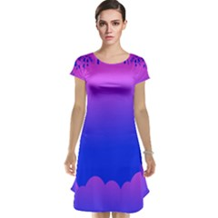 Abstract Bright Color Cap Sleeve Nightdress