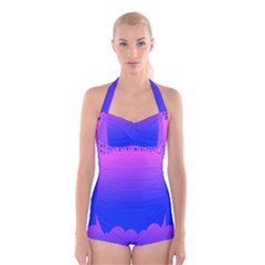 Abstract Bright Color Boyleg Halter Swimsuit