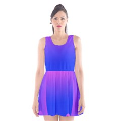 Abstract Bright Color Scoop Neck Skater Dress