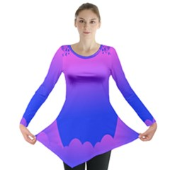Abstract Bright Color Long Sleeve Tunic