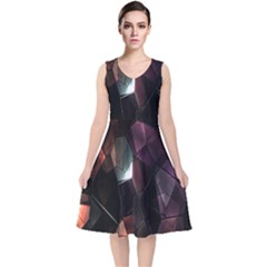 Crystals Background Design Luxury V Neck Midi Sleeveless Dress