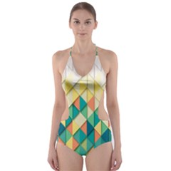 Background Geometric Triangle Cut Out One Piece Swimsuit