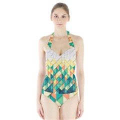 Background Geometric Triangle Halter Swimsuit