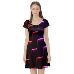 Mode Background Abstract Texture Short Sleeve Skater Dress