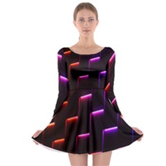 Mode Background Abstract Texture Long Sleeve Skater Dress