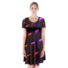 Mode Background Abstract Texture Short Sleeve V Neck Flare Dress