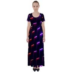 Mode Background Abstract Texture High Waist Short Sleeve Maxi Dress